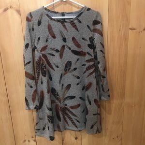 Fashion Queen Boho Feather Tunic Shirt -Dress.